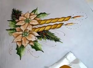 pintura_em_tecido_vela_e_flor_de_natal