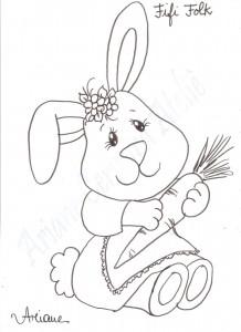 Pintura em tecido - risco da coelha fifi parte do DVD Páscoa 2 de Ariane Cerveira- aprenda pintura em tecido sem segredos