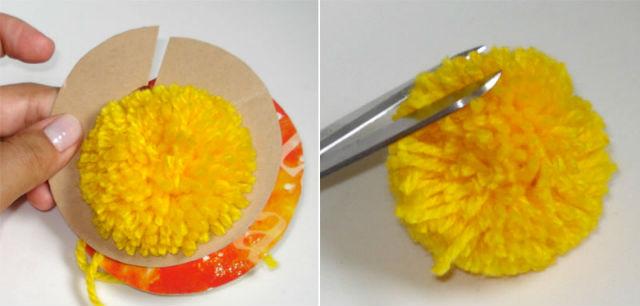 Exemplo de como fazer pompom de lã