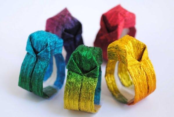Como fazer um lindo anel de origami com papel especial