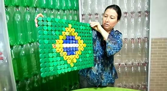 Tampinhas para fazer Bandeira do Brasil