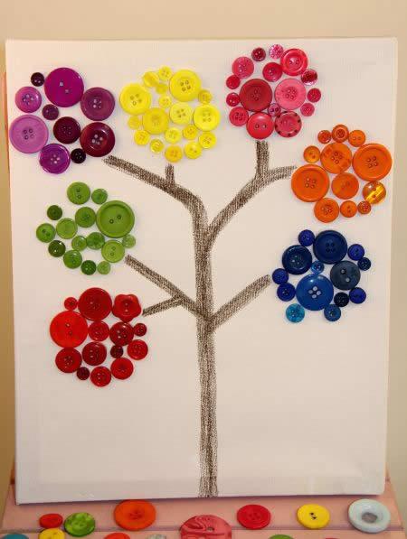 Aparador Azul Marinho ~ artesanato passo a passo Como decorar quadro com botões