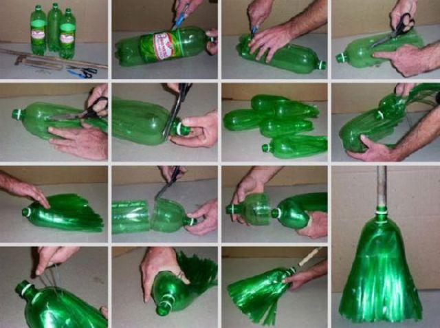imagens passo a passo de como fazer uma vassoura com garrafa pet