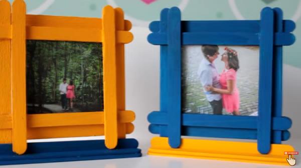 Porta retratos para o Dia dos Pais com palitos de picolé