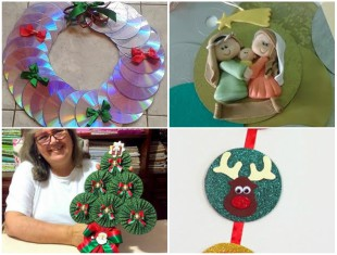 Artesanatos com CD Velhos para Decoração de Natal