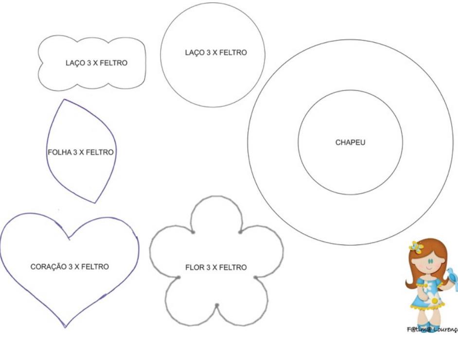 Artesanatos com Feltro moldes grátis - 10 ideias lindas passo a passo 615cf3c1ab6