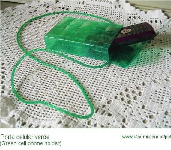 porta celular com fios de pet