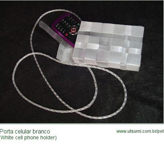 porta celular reciclado com fios de pet