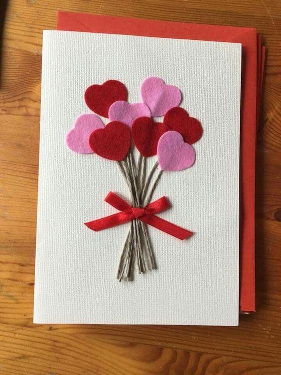 Cartão para o Dia das Mães com feltro e papel