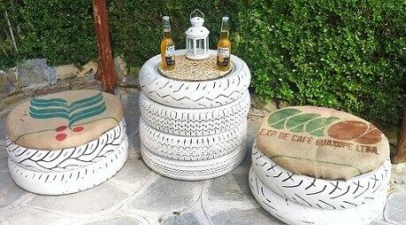 Conjunto com pneus pintados