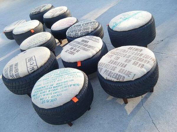 puff de pneu com almofada