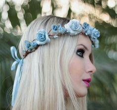 tiara para fantasia de rosas azuis