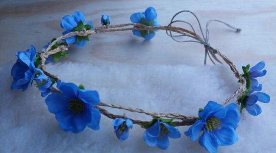 tiara para fantasia de flores azuis